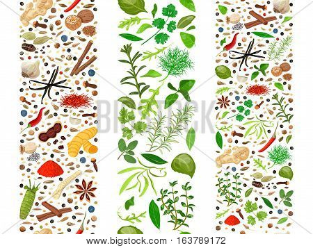 Popular culinary herbs and spices set organized in three ribbons. Cooking seasonings poster. Design for decoration, cosmetics, store, health care products, flyer, banner, wrapping paper, textile
