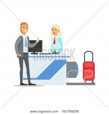 Man Checking In For A Flight At Registration Counter, Part Of Airport And Air Travel Related Scenes Series Of Vector Illustrations. Smiling Cartoon Character In The Airport Building Travelling By Plane.