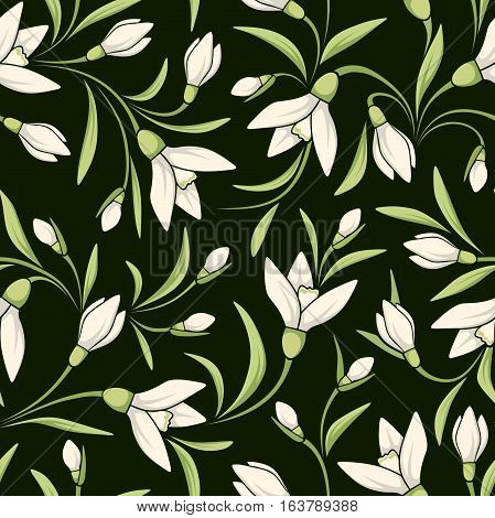 Vector seamless pattern with white snowdrop flowers on a dark green background.