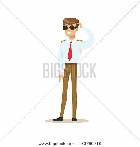 Military Pilot In Dark Glasses, Part Of Airport And Air Travel Related Scenes Series Of Vector Illustrations. Smiling Cartoon Character Airport Professional Employee.