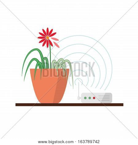 Wi-fi danger vector illustration concept. Wireless signal is influencing on green plant, which leads to leaves fade. Infographics element in flat design, isolated.