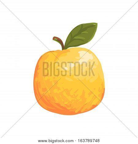 Orange Apple Funky Hand Drawn Fresh Fruit Cartoon Illustration. Radiant Glossy Summer Fruit, Heathy Diet Food Item Vector Object.