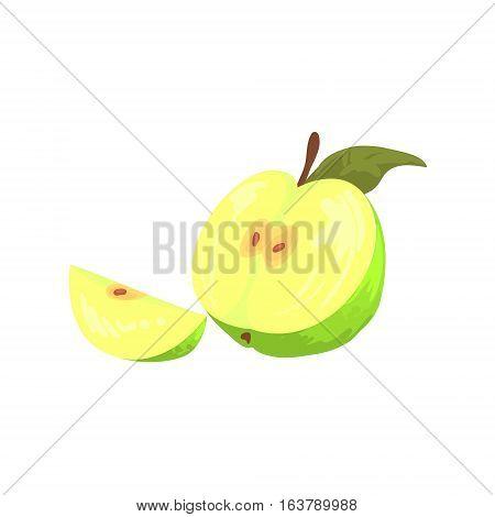 Green Cut Apple Funky Hand Drawn Fresh Fruit Cartoon Illustration. Radiant Glossy Summer Fruit, Heathy Diet Food Item Vector Object.