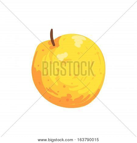 Orange Isolated Apple Funky Hand Drawn Fresh Fruit Cartoon Illustration. Radiant Glossy Summer Fruit, Heathy Diet Food Item Vector Object.