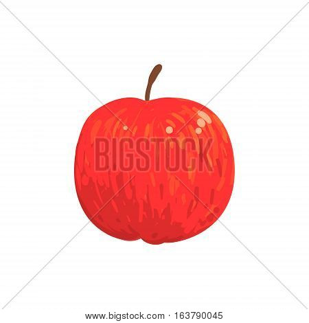 Red Isolated Apple Funky Hand Drawn Fresh Fruit Cartoon Illustration. Radiant Glossy Summer Fruit, Heathy Diet Food Item Vector Object.