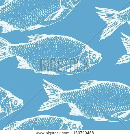 Vector illustration with sketches of rudd fish. Hand-drawn seamless background blue color. Seafood pattern.