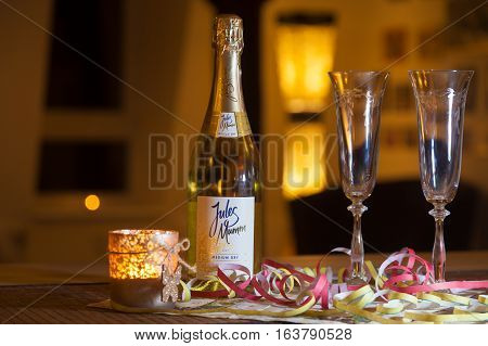 BURG / GERMANY - JANUARY 2 2017: Jules Mumm medium dry champagne bottle stands on a table