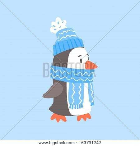 Penguin In Blue Scarf And Hat, Arctic Animal Dressed In Winter Human Clothes Cartoon Character. Cold Region Fauna And Warm Clothing Funky Vector Illustration.