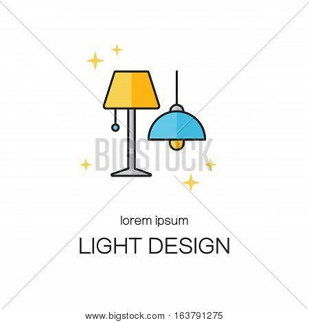 Lighting desigh line icon logo templates. Vector logo design series.