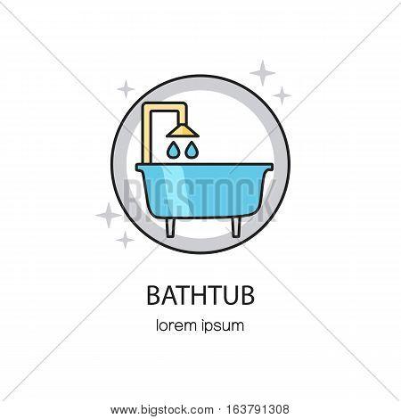 Bathtub and sanitary logotype design templates. Modern easy to edit logo template. Vector logo design series.