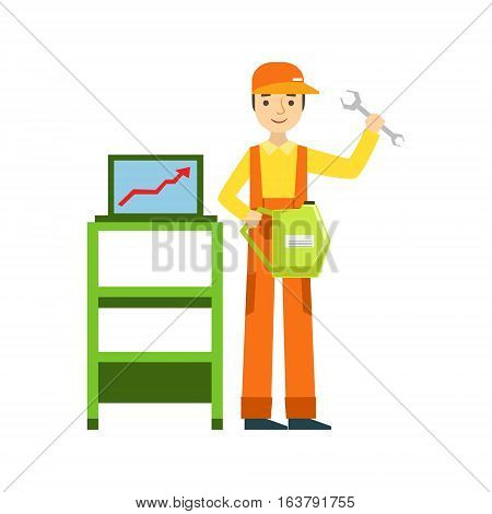 Smiling Mechanic With Wrench And Computer Diagnostics In The Garage, Car Repair Workshop Service Illustration. Cartoon Male Character In Dungarees Working In Auto Repair Shop.