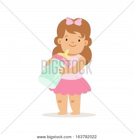 Girl In Pink Skirt With Milk Bottle, Adorable Smiling Baby Cartoon Character Every Day Situation. Part Of Cute Infants And Toddlers Vector Illustration Series