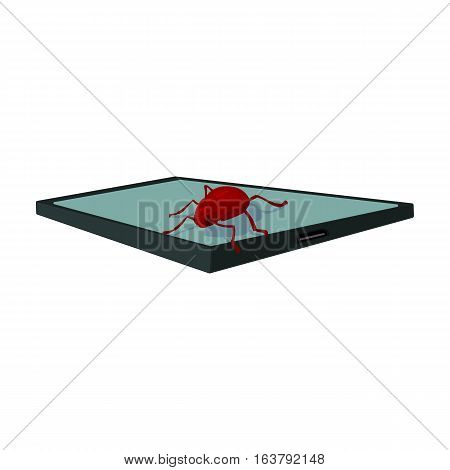 Computer virus icon in cartoon design isolated on white background. Hackers and hacking symbol stock vector illustration.