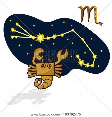 Cartoon Zodiac signs. Vector illustration of scorpion in the form of a rectangle. A schematic arrangement of stars in the constellation Scorpio