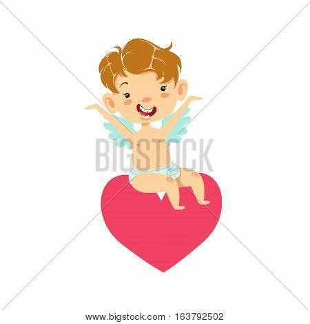 Boy Baby Cupid Sitting On Heart, Winged Toddler In Diaper Adorable Love Symbol Cartoon Character. Happy Infant Cupid Saint Valentines Day Flat Vector Illustration.