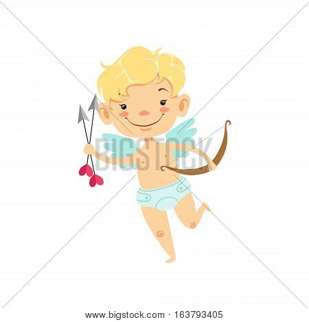 Boy Baby Cupid With Arrows And Bow, Winged Toddler In Diaper Adorable Love Symbol Cartoon Character. Happy Infant Cupid Saint Valentines Day Flat Vector Illustration.