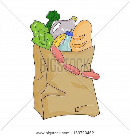 Paper bag filled with food icon in cartoon design isolated on white background. Supermarket symbol stock vector illustration.