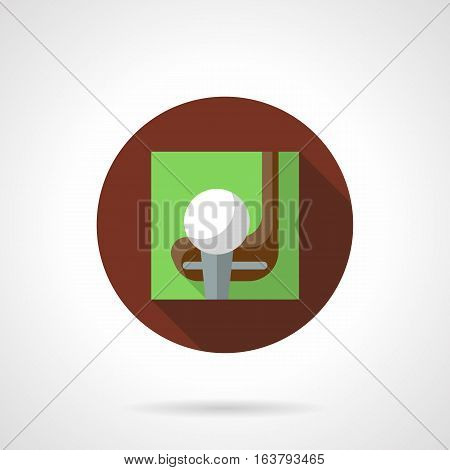 Playing golf concept. Putting white ball on tee and club on green background. Sport and active leisure. Round brown flat color design vector icon.
