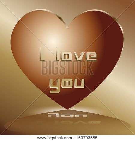 Valentine I love you Abstraction style industrial romanticism, author design a holiday card copper metal object shadow text love confession Stock vector illustration eps10