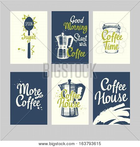 Set of coffee sketch. Hot drinks menu. Vector Illustration with cup, maker and brush calligraphy elements for your design. Handwritten ink lettering.