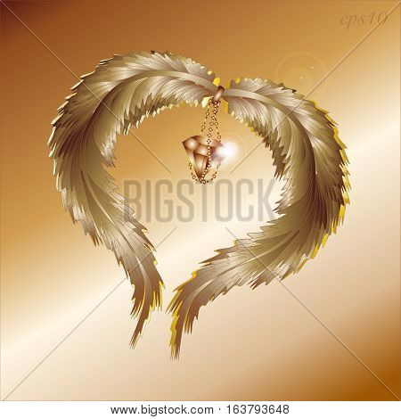 Two feather and diamond Abstract valentine celebration author design heart glint jewel chain flying love the romanticism style two wing vector illustration eps10 stock