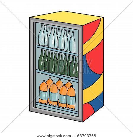 Fridge with drinks icon in cartoon design isolated on white background. Supermarket symbol stock vector illustration.