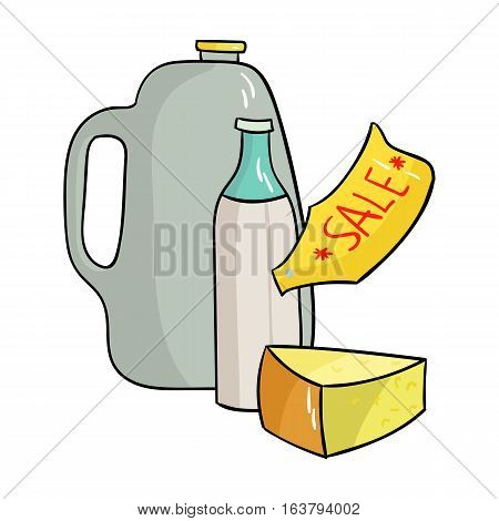 Grocery discount icon in cartoon design isolated on white background. Supermarket symbol stock vector illustration.