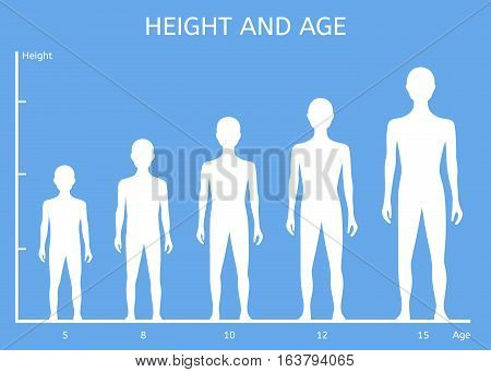 Height and age boys on a blue background
