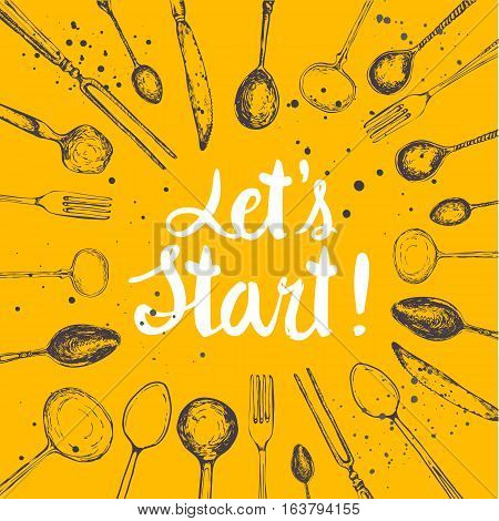 Vector background with eating utensils. Menu pattern. Illustration with funny kitchen appliances on yellow background. Decorative elements for your packing design. Multicolor decor.