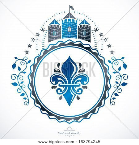 Vector vintage emblem created in heraldic design and composed with medieval stronghold and pentagonal stars