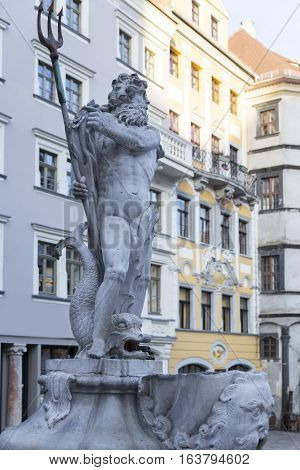 Historic fountain of Neptune in the picturesque town of Goerlitz Germany
