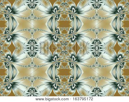 Seamless flower fractal pattern on beige.