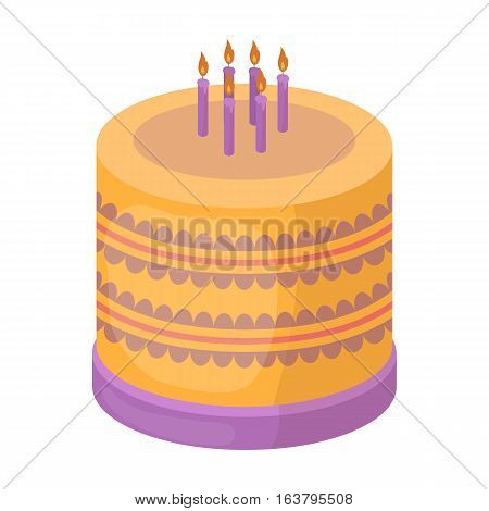 Bicolor cake icon in cartoon design isolated on white background. Cakes symbol stock vector illustration.