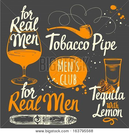 Set of drinks and smokeking. Cigars in sketch style. Vector illustration with pipes, tequila, brandy. Classical men.