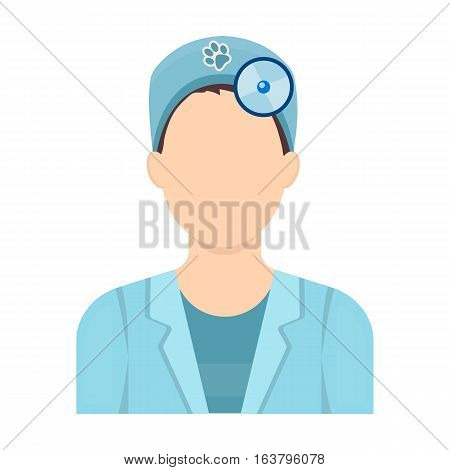 Pet doctor icon in cartoon design isolated on white background. Veterinary clinic symbol stock vector illustration.