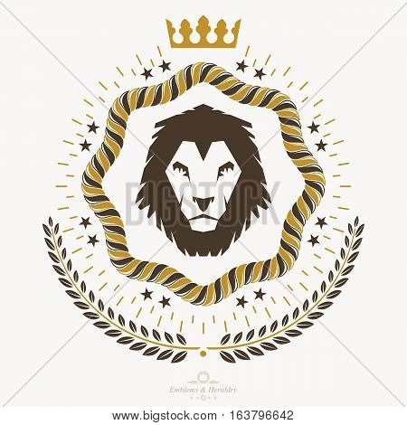 Vector vintage emblem created in heraldic design  with lion head illustration and royal crown