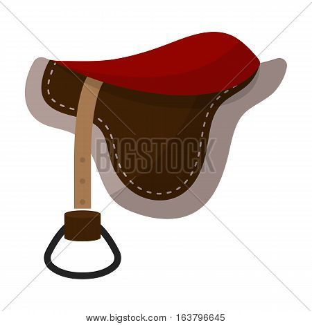 Saddle icon in cartoon design isolated on white background. Hippodrome and horse symbol stock vector illustration.