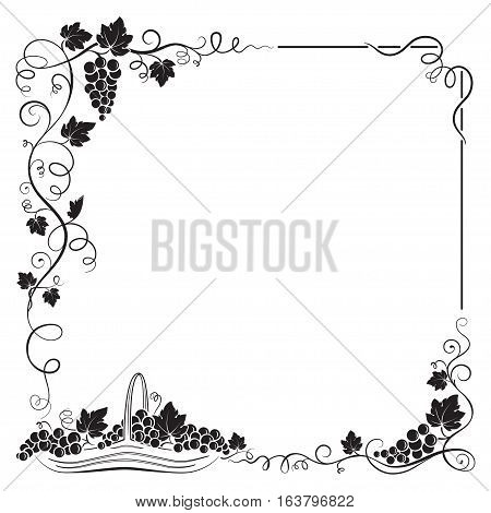 Decorative black frame formed by bunch of grapes, vines, leaves, vignettes and basket with grapes.