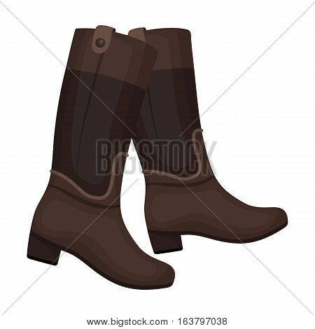 Jockey's high boots icon in cartoon design isolated on white background. Hippodrome and horse symbol stock vector illustration.