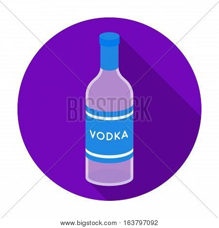 Glass bottle of vodka icon in flat design isolated on white background. Russian country symbol stock vector illustration.