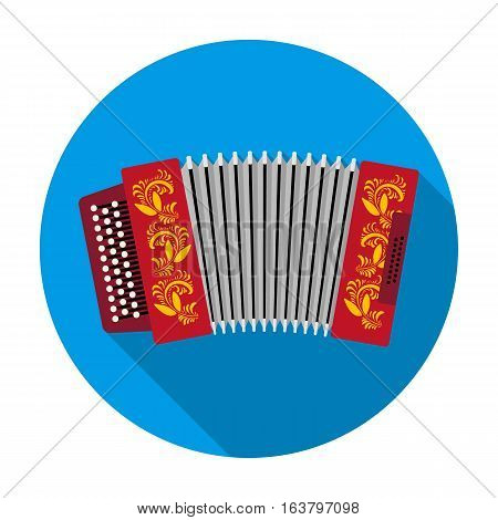 Classical bayan, accordion or harmonic icon in flat design isolated on white background. Russian country symbol stock vector illustration.