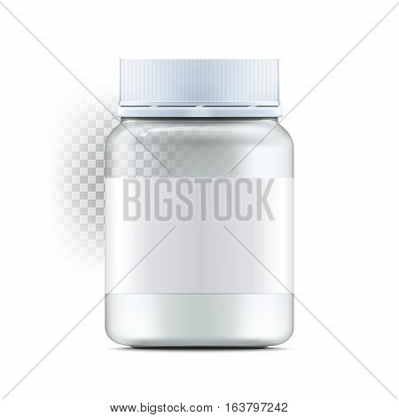 Realistic glass jar with with jam configure or honey. Food bank.Transparent banks. Empty containers vector illustration. Mock up mason jar with design label or badges