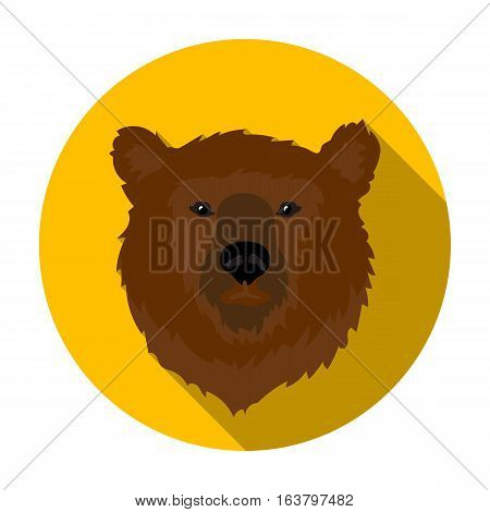 Brown bear muzzle icon in flat design isolated on white background. Russian country symbol stock vector illustration.