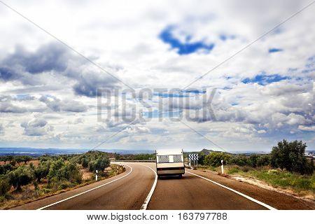 Landscape and caravan.Caravan travel road concept and lifestyle.