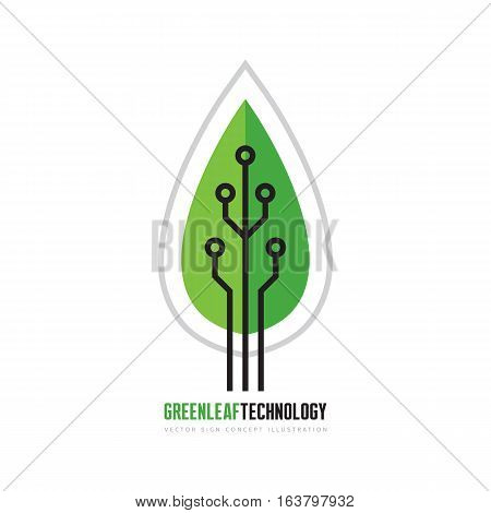 Organic structure - vector business logo template. Green leaf technology sign. Nature symbol. Nanotech concept illustration. Design element.