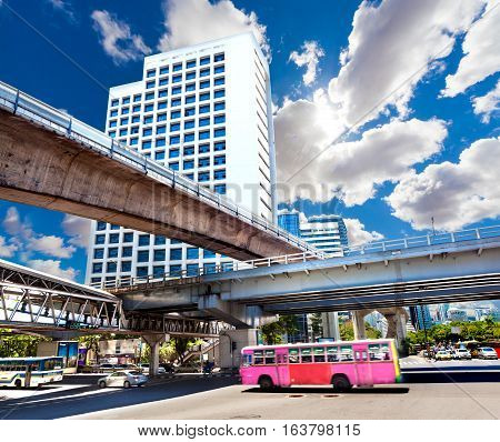 Bangkok city landmarks view.Cityscape.typical transport bus.Exotic travels and adventures .Thailand trip.Bangkok city