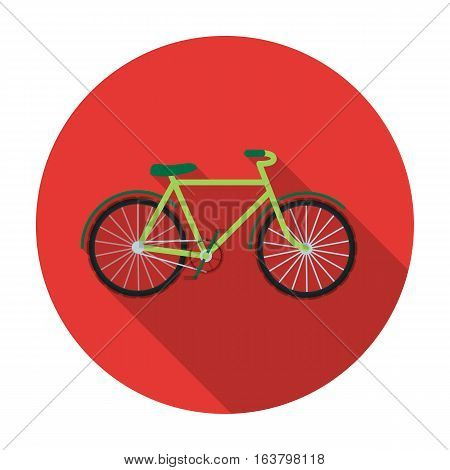 Green bicycle icon in flat design isolated on white background. Bio and ecology symbol stock vector illustration.