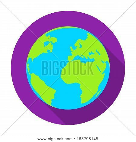 Earth icon in flat design isolated on white background. Bio and ecology symbol stock vector illustration.