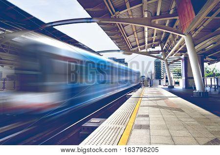 Travel concept ThailandBangkok Skytrain station sidewalk.Railway carriage