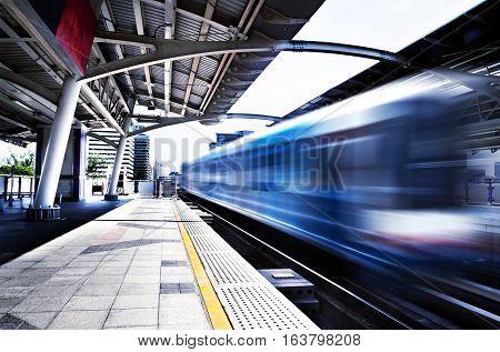 Travel concept,Thailand, Bangkok, Skytrain station sidewalk. Railway carriage